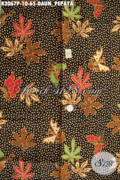 Tempat Belanja Kain Batik Murah Online, Sedia Batik Printing Halus 60 Ribuan Motif Daun Pepaya, Cocok Buat Seragam Kerja Kantoran [K3067P-200x115cm]