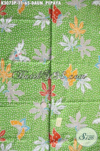 Batik Halus Warna Hijau Motif Daun Pepaya, Batik Printing Solo Modis Bahan Pakaian Wanita Karir Tmapil Mempesona Hanya 65K [K3073P-200x115cm]