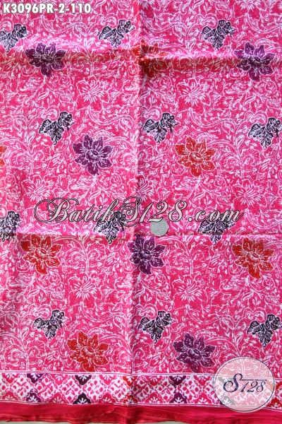 Kain Batik Halus Keren Warna Pink, Produk Kain Batik Terkini Bahan Paris, Cocok Untuk Dress Wanita Muda