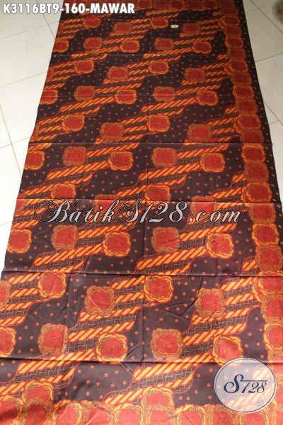 Batik Kain Halus Di Jual Online 160 Ribu, Batik Solo Kombinasi Tulis Bahan Pakaian Kerja Wanita Motif Mawar, Tampil Mempesona [K3116BT-240x115cm]