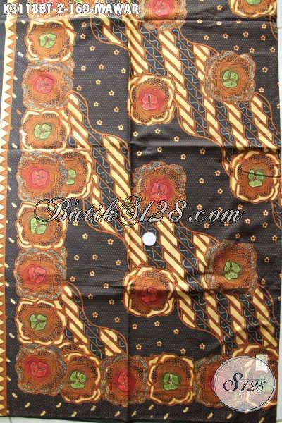 Batik Kain Buatan Solo Asli, Bati Halus Motif Mawar Kombinasi Tulis Kwalitas Istimewa Dengan Harga 160K, Pas Untuk Baju Kerja [K3118BT-240x115cm]
