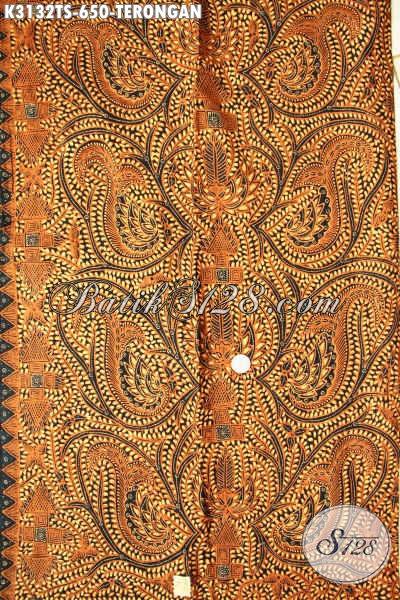 Batik Kain Motif Terongan, Batik Solo Mewah Tulis Soga Bahan Baju Kerja Kelas Premium Harga 650 Ribu, Penampilan Makin Sempurna [K3132TS-240x110cm]