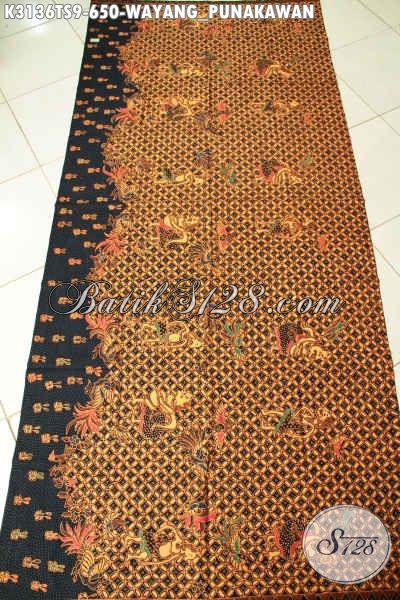 Batik Kain Klasik Tulis Soga, Produk Batik Solo Halus Motif Wayang Punakawan, Bisa Untuk Baju Santai Dan Resmi Harga 650 Ribu [K3136TS-240x110cm]
