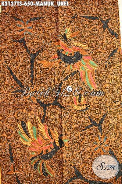 Jual Kain Batik Mewah Khas Jawa Tangah, Batik Premium Solo Proses Tulis Soga Motif Manuk Ukel, Elegan Untuk Pakaian Resmi