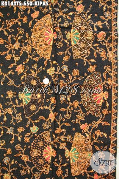 Batik Halus Solo Terkini, Kain Batik Mewah Proses Tulis Soga Bahan Pakaian Pria Wanita Motif Kipas Harga 650K [K3143TS-240x110cm]