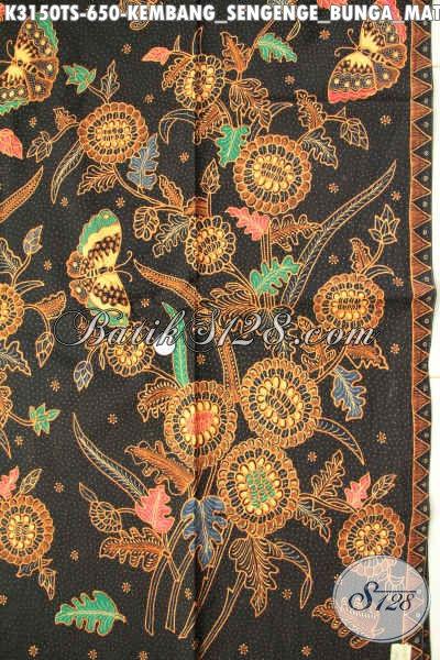 Di Jual Online Kain Batik Mewah Halus Bahan Pakaian Berkelas Proses Tulis Soga Motif Bunga Matahari, Asli Buatan Solo Indonesia [K3150TS-240x110cm]