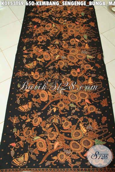 Batik Klasik Solo, Batik Premium Jawa Tengah Bahan Pakaian Kerja Dan Acara Resmi Kwalitas Mewah Proses Tulis Soga Motif Bunga Matahari 650K [K3153TS-240x110cm]