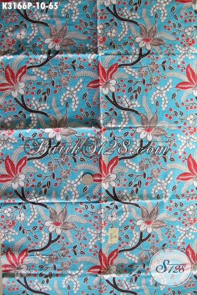 Agen Batik Online Terlengkap, Jual Kain Batik Halus Motif Bunga Dasar Biru Muda Kwalitas Istimewa Proses Printing, Cocok Untuk Pakaian Wanita Karir Dan Ibu Rumah Tangga