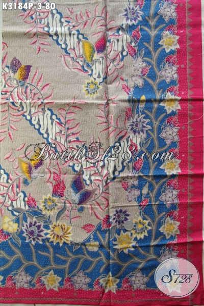 Produk Batik Kain Terkini, Batik Halus Istimewa Buatan Solo Bahan Pakaian Wanita Pria Karir Hanya 80K Motif Trend 2017 [K3184P-240x115cm]