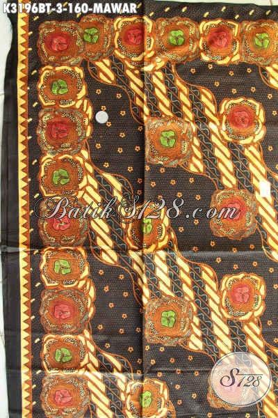 Kain Batik Elegan Motif Mawar, Produk Batik Solo Istimewa Kwalitas Halus Bahan Kemeja Pria Maupun Blus Wanita Kantoran Hanya 160K Proses Kombinasi Tulis [K3196BT-240x115cm]