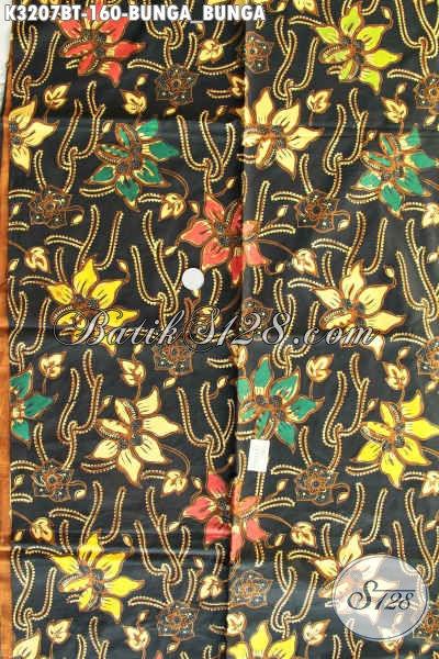 Kain Batik Solo Asli, Batik Bahan Pakaian Wanita Motif Bunga-Bunga Proses Kombinasi Tulis Trend Mode 2017