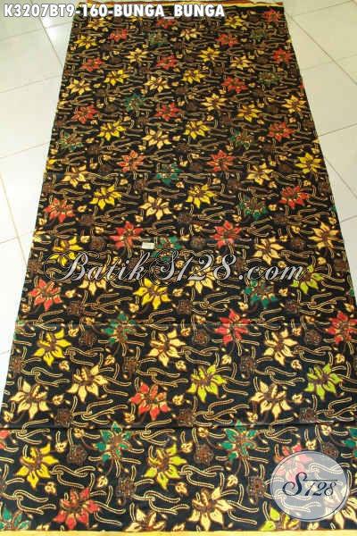 Batik Kain Kombinasi Tulis Motif Bunga-Bunga, Batik Bahan Busana Wanita Nan Mewah, Penampilan Lebih Sempurna [K3207BT-240x115cm]
