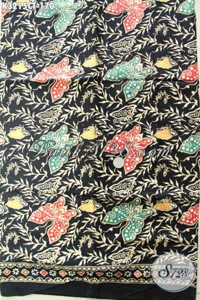 Kain Batik Motif Kupu Dengan Kombinasi Warna Keren Proses Cap Tulis, Batik Bahan Pakaian Wanita Untuk Tampil Cantik Dan Anggun
