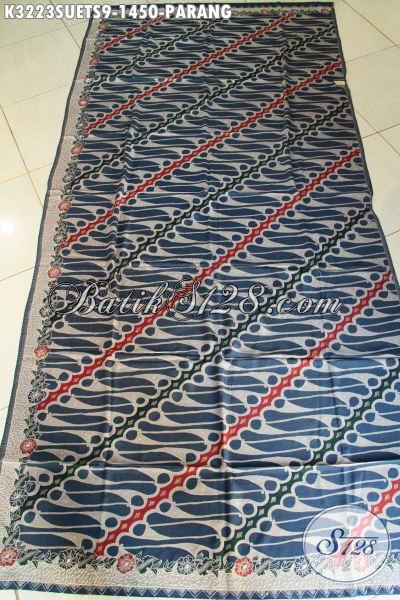 Kain Batik Mewah Tulis Soga, Batik Halus Bahan Sutra Crepe Motif Parang Klasik Warna Biru, Pas Untuk Busana Pejabat