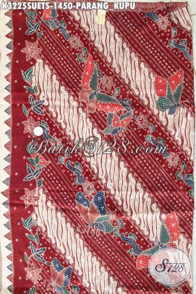Kain Batik Modern Klasik Warna Merah Bahan Sutra Crepe, Batik Premium Cocok Untuk Kemeja Pria Pejabat Dan Executive Harga 1 Jutaan Proses Tulis Soga [K3225SUETS-240cmx110cm]