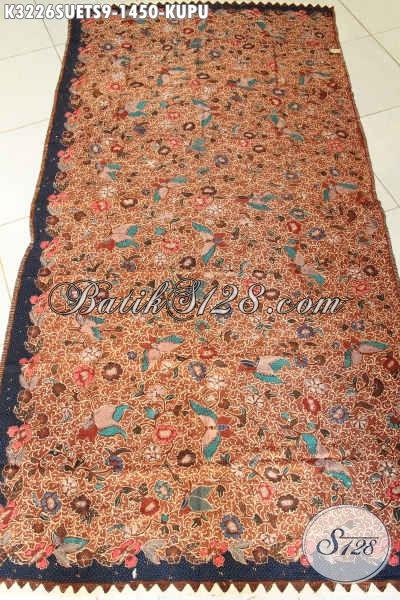Batik Kain Solo Premium Bahan Sutra, Batik Mewah Untuk Pakaian Resmi Nan Berkelas Motif Kupu Proses Tulis Soga, Cocok Buat Busana Para Eksekutif [K3226SUETS-240cmx110cm]