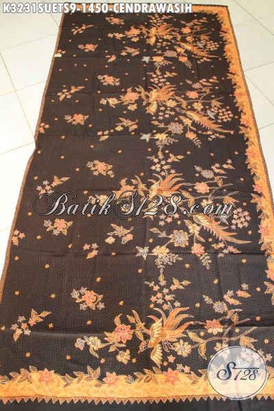 Kain Batik Mewah Bahan Sutra Crepe, Batik Sutra Premium Buatan Solo Proses Tulis Soga Motif Cendrawasih Harga 1 Jutaan, Cocok Buat Baju Resmi