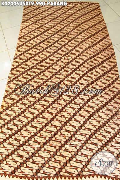 Batik Klasik Solo Premium, Kain Batik Parang Istimewa Bahan Sutra Super, Elegan Untuk Pakaian Kerja Pria Lengang Pendek Dan Panjang Harga 900 Ribuan [K3233SUSBT-240cmx110cm]