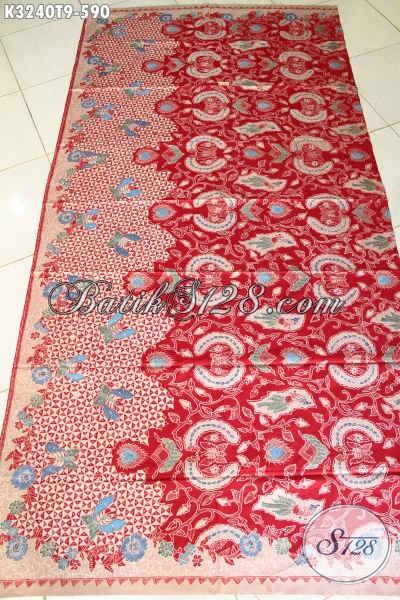 Beli Kain Batik Solo Murah Online, Batik Tulis Premium Berkelas Warna Merah Motif Mewah Proses Tulis Hanya 590K [K3240T-240cmx110cm]