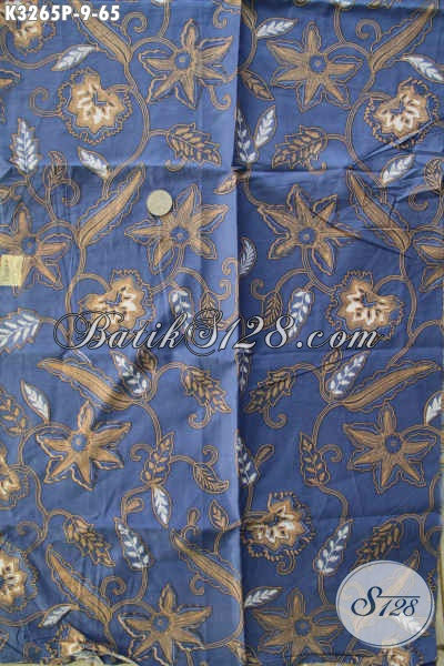 Produk Kain Batik Solo Warna Biru Motif Bagus Bahan Adem Proses Printing, Bahan Pakaian Keren Dan Modis