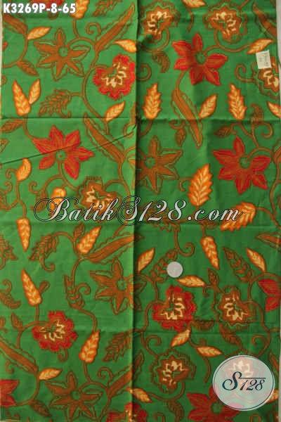 Kain Batik Motif Terbaru Warna Dasar Hijau Bahan Pakaian Modis Wanita Masa Kini, Di Jual Online 65 Ribu [K3269P-200x115cm]