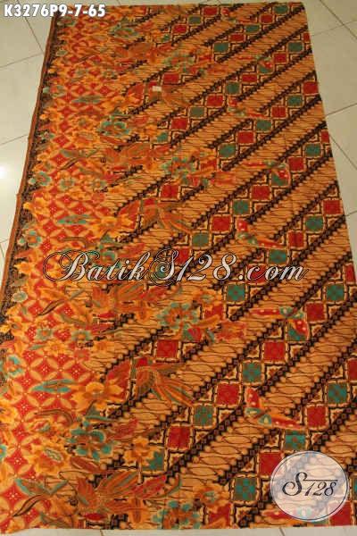 Batik Kain Elegan Motif Parang Bunga Proses Printing, Batik Halus Warna Klasik Bahan Busana Wanita Pria