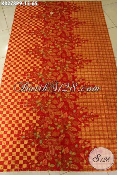 Batik Kain Keren Elegan Warna Merah, Batik Solo Asli Proses Printing Bahan Pakaian Kerja Kantoran Harga 65K