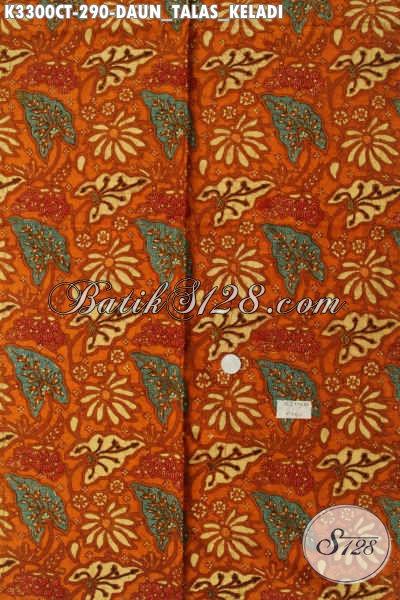 Batik Kain Bahan Busana Kerja Dan Acara Resmi, Batik Halus Proses Cap Tulis Motif Daun Talas Keladi Kwalitas Bagus Harga Terjangkau [K3300CT-240x110cm]