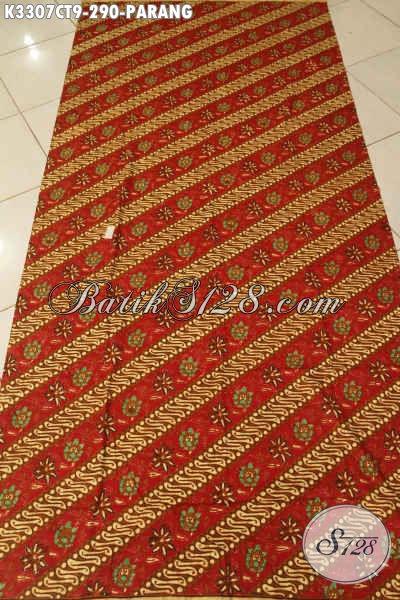 Kain Batik Halus Elegan Motif Parang Bunga, Batik Solo Cap Tulis Kwalitas Premium Bahan Busana Resmi Nan Mewah, Penampilan Terlihat Berkelas [K3307CT-240x110cm]