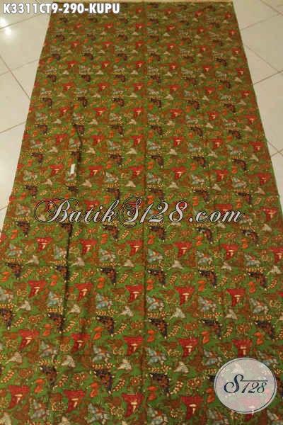 Kan Batik Warna Hijau Dengan Motif Kupu Kwalitas Istimewa, Batik Cap Tulis Buatan Solo Asli Bahan Busana Trendy Dan Modern Menunjang Penampilan Lebih Sempurna Hanya 290K