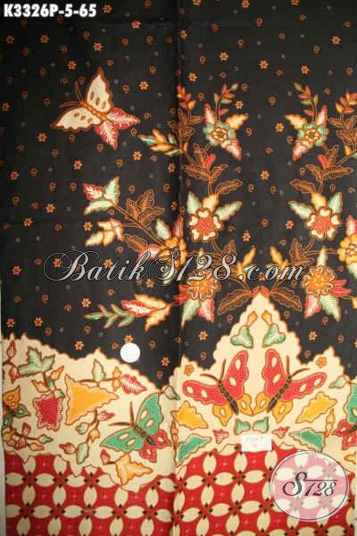 Batik Kain Solo Halus Motif Bunga Kupu Proses Printing, Batik Istimewa Bahan Busana Kerja Dan Santai Hanya 60 Ribuan [K3326P-200x110cm]