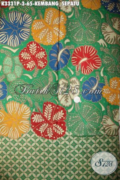 Batik Kain Solo Jawa Tengah, Batik Halus Nan Istimewa Proses Printing Motif Kembang Sepatu Cocok Untuk Pakaian Wanita Dan Pria Kantoran, Tampil Lebih Menawan