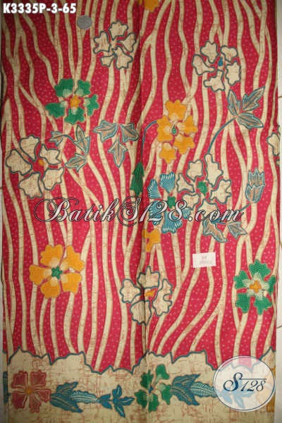 Produk Kain Batik Bahan Dress, Batik Kain Bahan Busana Atasn Wanita Motif Bunga Dengan Kombinasi Warna Yang Feminim, Batik Solo Printing Kwalitas Bagus Harga Sangat Terjangkau