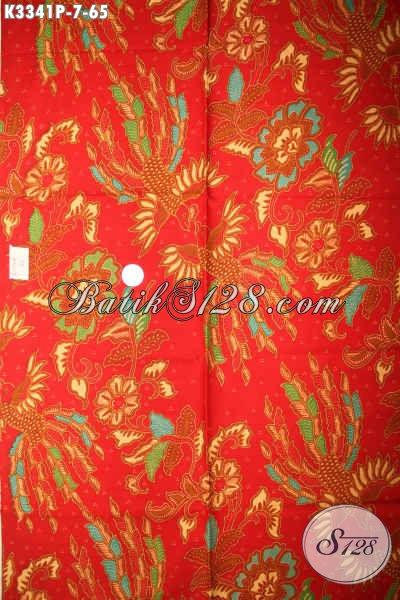 Sedia Kain Batik Produk Solo Jawa Tengah, Hadir Dengan Motif Mewah Berpadu Warna Merah Proses Printing, Cocok Untuk Pakaian Santai Dan Formal Perempuan