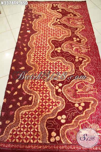 Batik Kain Solo Elegan Mewah Warna Merah, Batik Tulis Motif Bagus Premium, Cocok Untuk Busana Kerja Pria Dan Wanita Tampil Berkelas