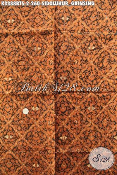 Batik Kain Bahan Jarik Kwalitas Premium, Batik Istimewa Motif Sidoluhur Grinsing Proses Kombinasi Tulis Nan Mewah, Pas Untuk Acara Adat Jawa Tengah