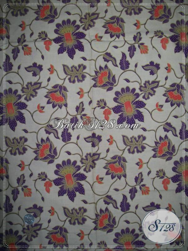 Kain Batik Warna Soft Dan Motif Bunga Warna UnguKain Batik Murah