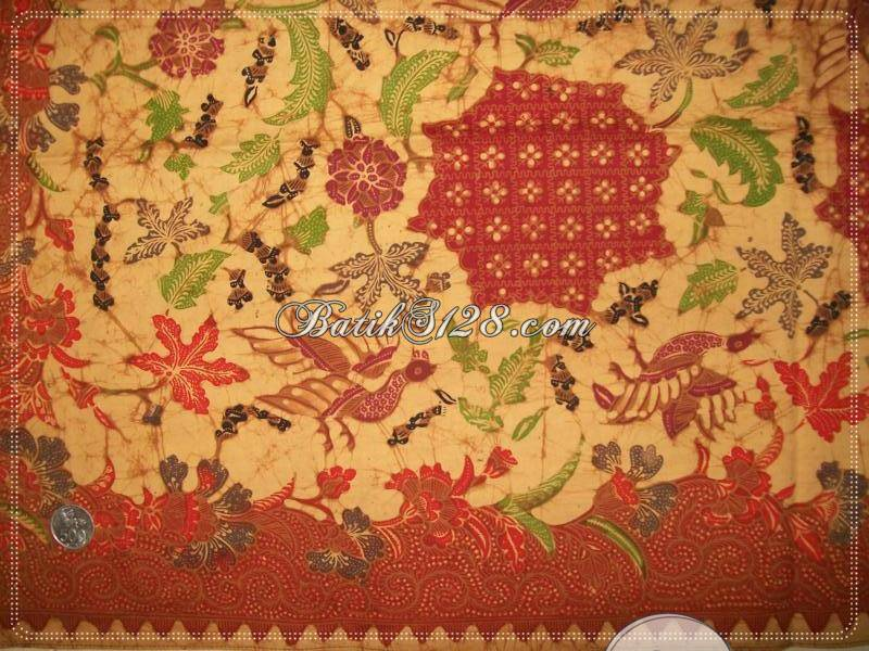 Batik Tulis Solo Motif Burung Dan Daun Warna Soga, Batik Tulis Bledak