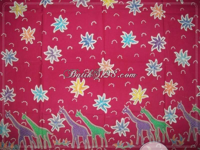 Batik Tulis Motif Hewan Jerapah Warna Merah Unik Elegan Cantik