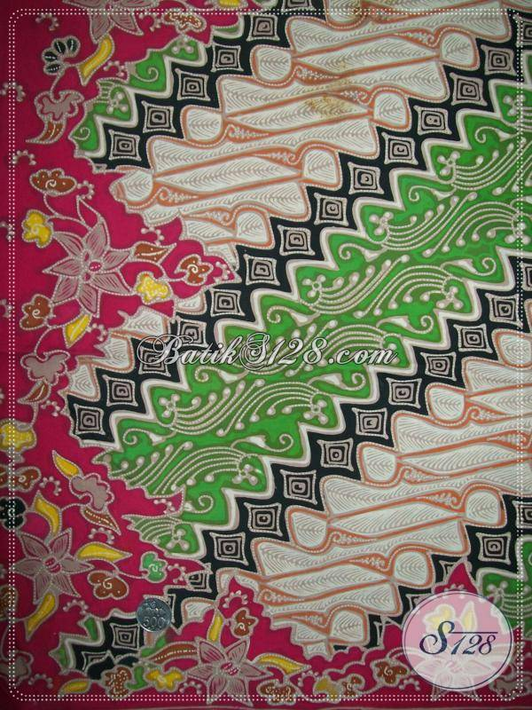 Batik Tulis Motif Parang Warna Hijau Putih, Tumpal Merah, Bahan Katun Primisima Halus