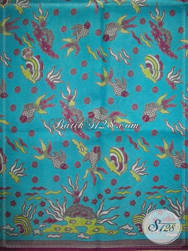 Bahan Batik Motif Kupu,Kain Batik Warna Biru Langit,Kain Batik Doby Halus [K917PD]