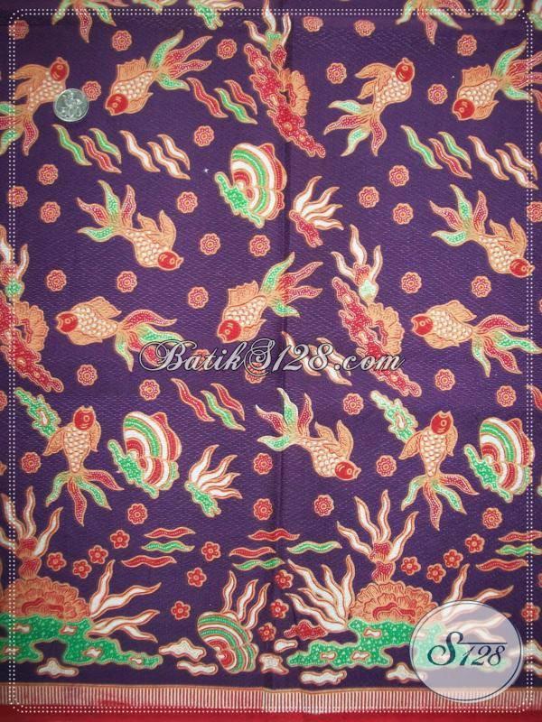 Batik Motif Ikan,Batik Warna Ungu,Batik Ungu Motif Ikan Elegan [K918PD]
