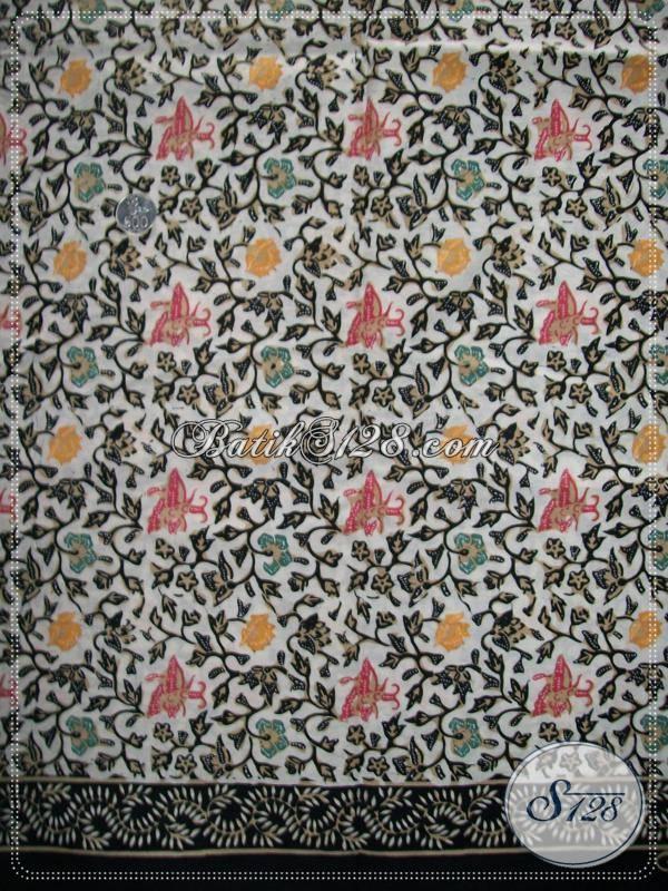 Kain Batik Cap Kombinasi Tulis,Batik Motif Bunga Cantik,Kain Batik Elegan Dan Modern [K923CT]