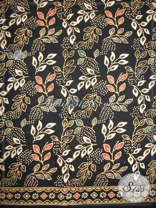 Kain Batik Warna Dasar Hitam Elegan,Motif BAtik Dedaunan,Batik Handmade Asli Solo [K933CT]