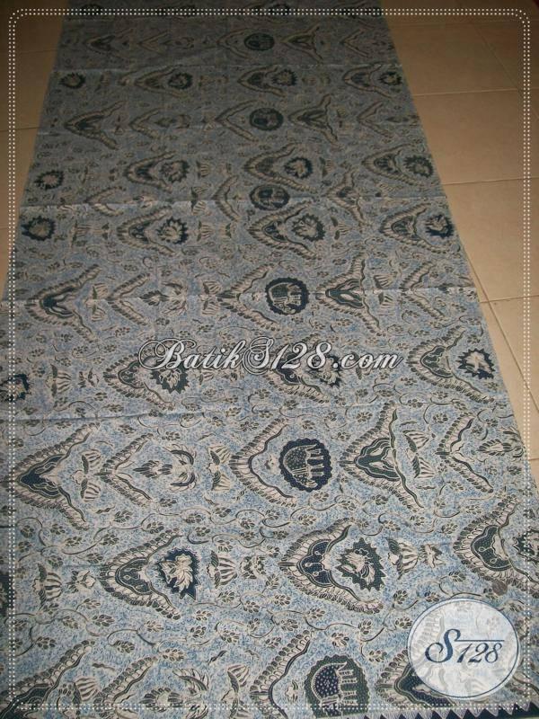 Koleksi Terbaru Batik Bahan Busana Mewah Mahal Berkelas, Kain Batik Solo Pewarna Alam Indigo Motif Gajah Birowo Biru