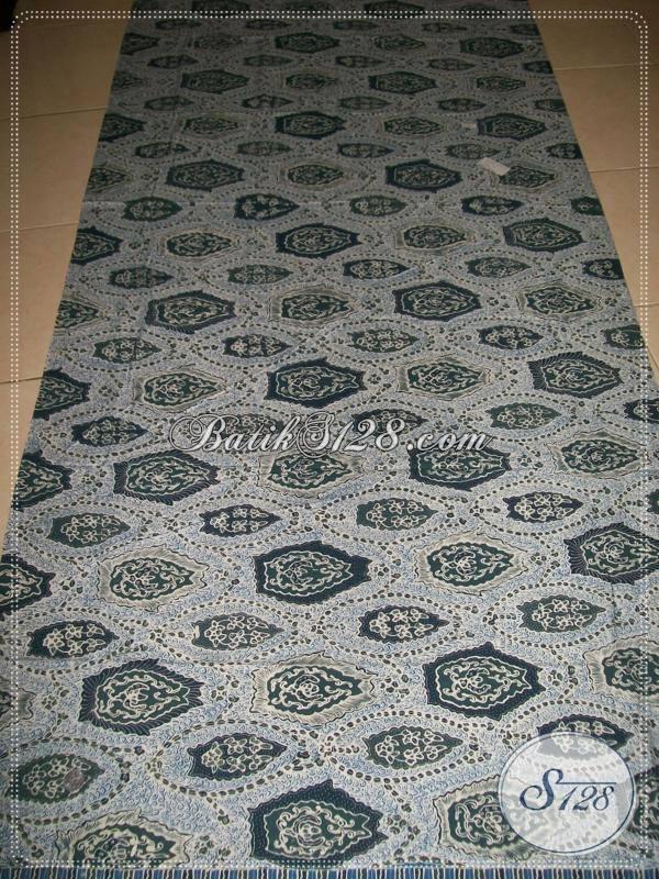 Jual Kain Batik Klasik Buatan Pengerajin Solo, Batik Mewah Biru Pewarna Alam Indigo Motif Bokor Kencono, Cocok Untuk Busana Resmi