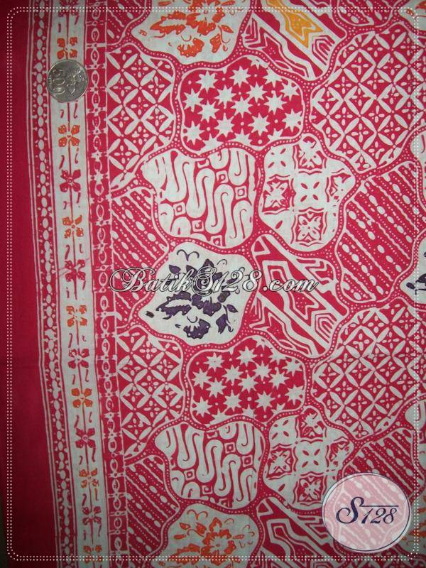 Toko Online Aneka Kain Batik Murah,Bahan Batik Motif Sekar Jagad Warna Merah Muda [KCC738]