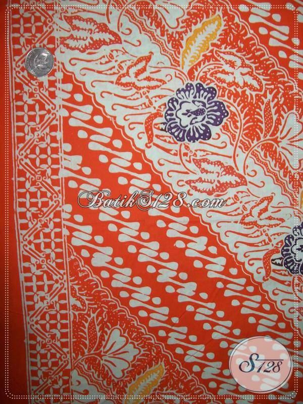 Bahan BAtik Motif Parang Kombinasi Bunga,Bahan Batik Elegan Dengan Warna Memikat [KCC741]