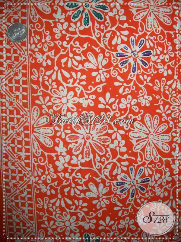 Kain Batik Warna Orange Motif Floral,Kain Batik Cantik Dan Elegan Harga Murah [KCC743]