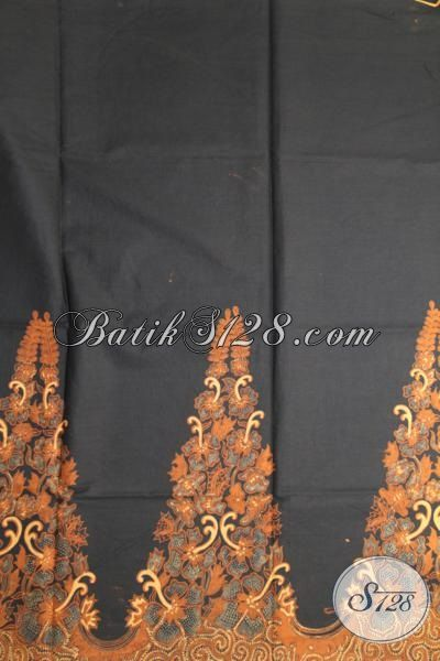 Batik Klasik Hitam Elegan, Bahan Busana Batik Formal Desain Motif Mewah Proses Kombinasi Tulis